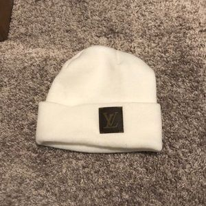 Custom louis vuitton white beanie
